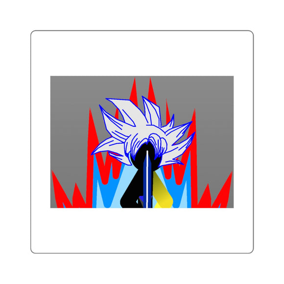 Ultra Tai Red Flame Aura Square Stickers