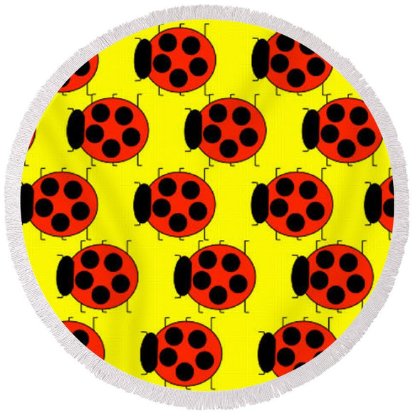 Lady Bug Dazzle - Round Beach Towel