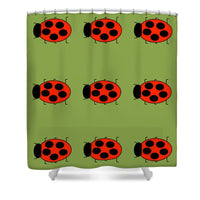 Lady Bug Dazzle Sage - Shower Curtain