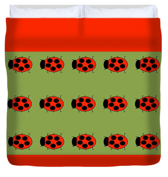 Lady Bug Dazzle Sage - Duvet Cover