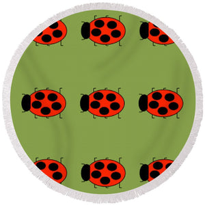 Lady Bug Dazzle Sage - Round Beach Towel