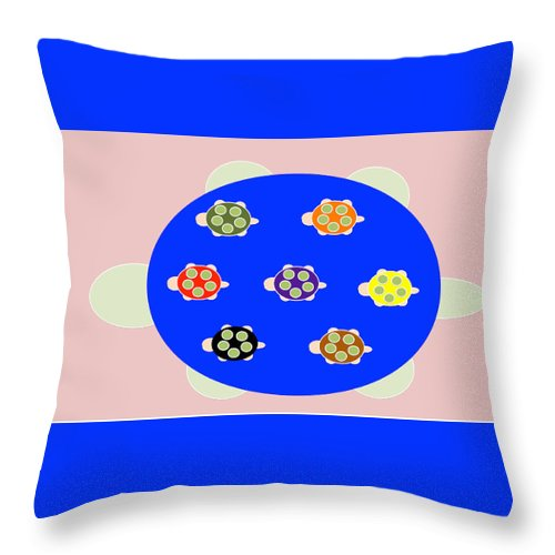 Mama Turtle Journey Color - Throw Pillow