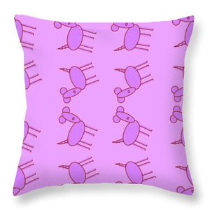 Pink Dog Walk - Throw Pillow