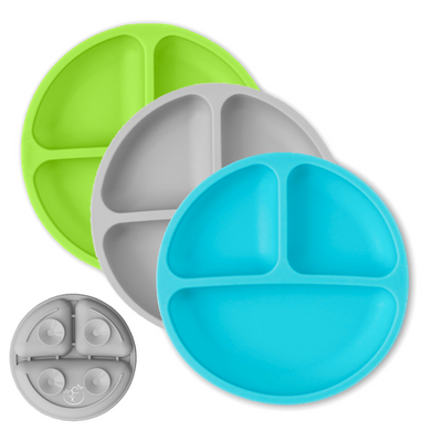 Silicone Divided Plates - Blue, Gray, Green
