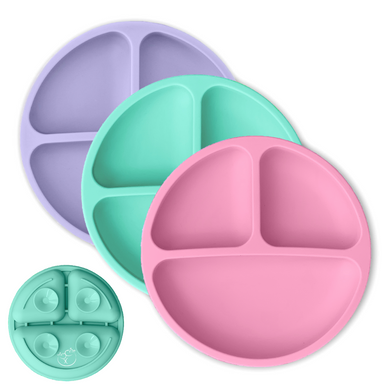 Suction Silicone Divided Plates - Pink, Mint, Lavender
