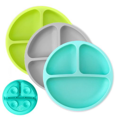 Baby Plates with Suction - Silicone (Teal / Gray / Lime)