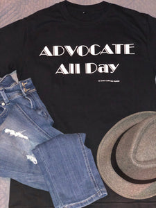 Advocate All Day- Black *unisex short sleeve