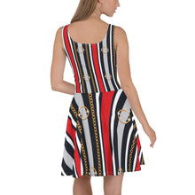 Load image into Gallery viewer, Belt Skater Dress, woman clothing, cocktail atire,  unique dressses, special dress, teen dresses.