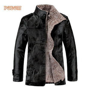 Retro PU Leather Jackets Men's Winter Warm Thick Coats Men Windproof Outerwear Casual Slim Buttons Up Lined Jacket Plus Size 4XL - Marianade'Dick,topfitnessproducts,raceofchampions