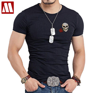Harajuku Style Men O-Neck T Shirt, Swag Punk Rock Mens, embroidery patch T-shirt Skull, tshirt Buddha, Tee Shirts Casual Streetwear.