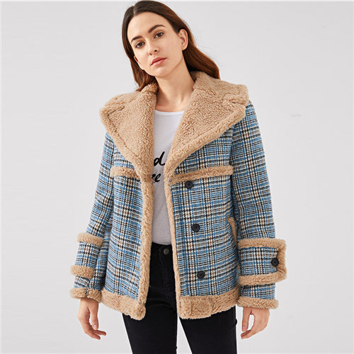 Multi-color  Contrast Faux Fur Plaid Coat Casual Single Breasted Pocket Outerwear Women Tweed Winter Coats