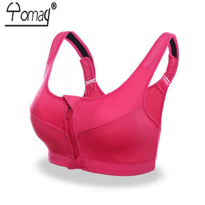 Women Sport Bra Zipper Front