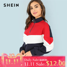 Load image into Gallery viewer, SHEIN Multicolor Minimalist O-Ring Zip Front Cut And Sew Stand Neck Raglan Sleeve Sweatshirt Autumn Women Casual Pullovers