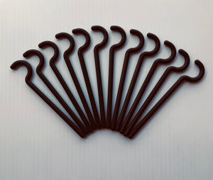 "1/4"" Round Plastic Durable Alumahook Hangers Spanish Brown(12 pack).   Made for Non Insulated Grooved Roof."