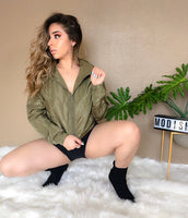 Talk to me nice windbreaker crop jacket (olive)