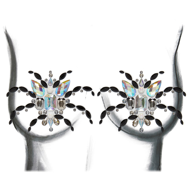 Black & Silver Self Adhesive All In One Body Jewels - Spider Boob Jewels