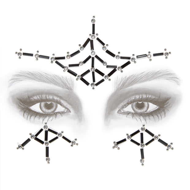 Black & Silver Self Adhesive All In One Face Jewel - Spider Web
