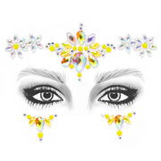 Yellow Self Adhesive All In One Face Jewel - Daisy Chain