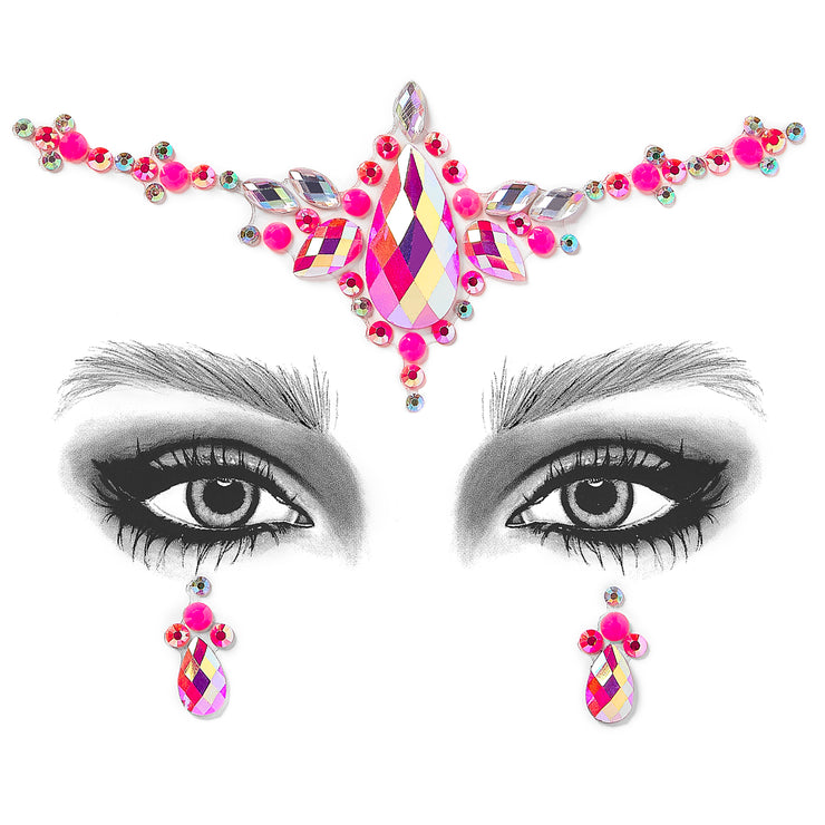Pink Self Adhesive All In One Face Jewel - Pretty In Pink