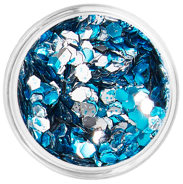 Silver & Blue Biodegradable Face & Body Chunky Glitter - Great White