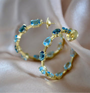 AQUA 18 Karat Gemstone Hoop Earrings