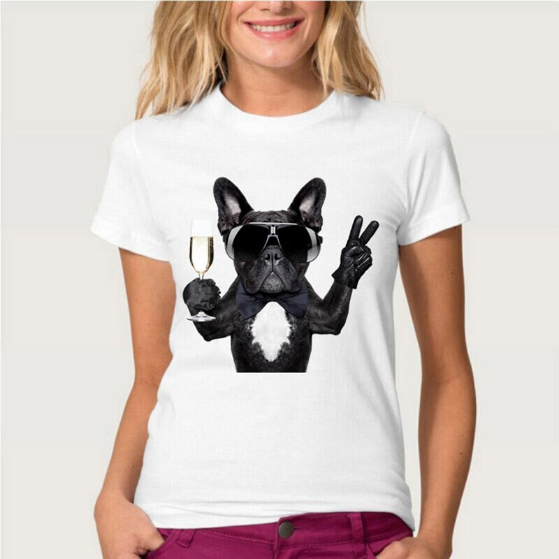 French Bulldog Champagne T-Shirt Womens