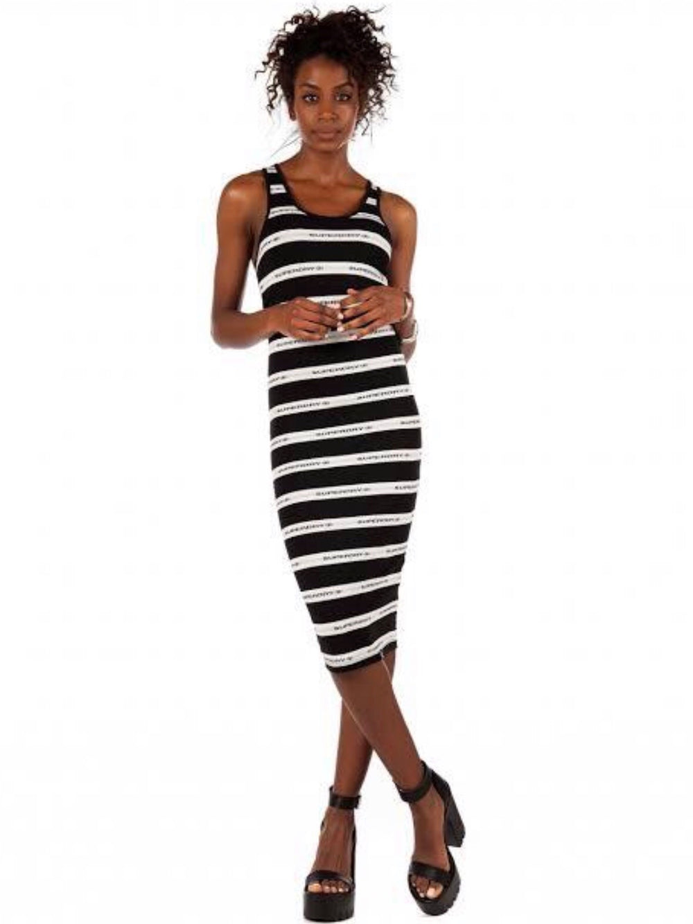 Mila stripe midi dress