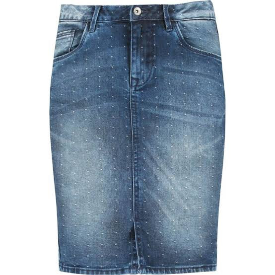 Dot denim skirt