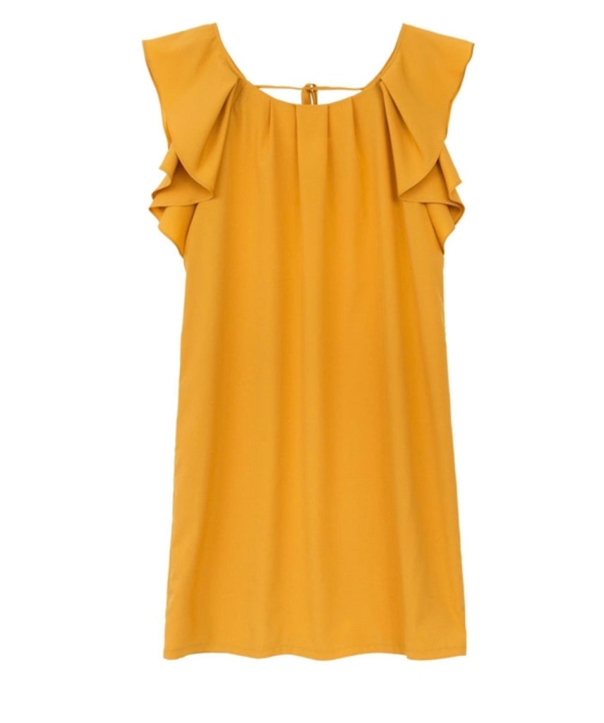 Woven saffron yellow dress