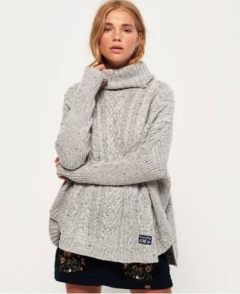 Pia Nep Cable Cape Knit  Superdry - shop online NZ Denim Den