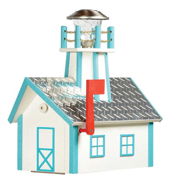 Poly Lighthouse Mailbox - Deluxe Aruba Blue & White