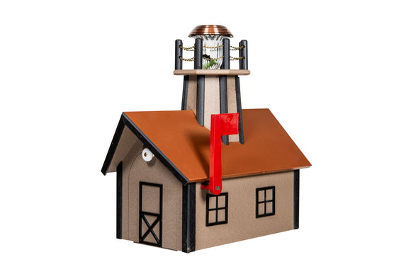 Poly Lighthouse Mailboxes - Weatherwood & Black