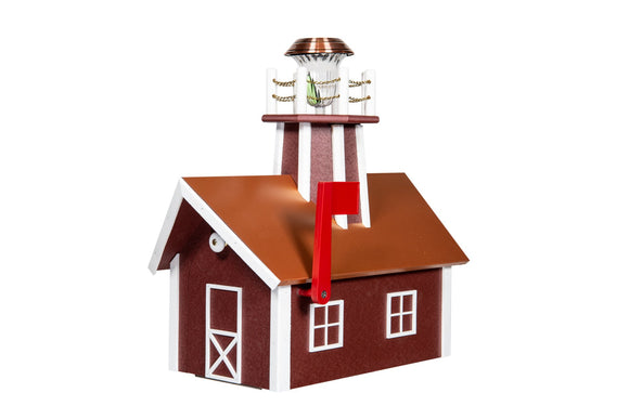 Poly Lighthouse Mailbox / Copper - Cherrywood & White