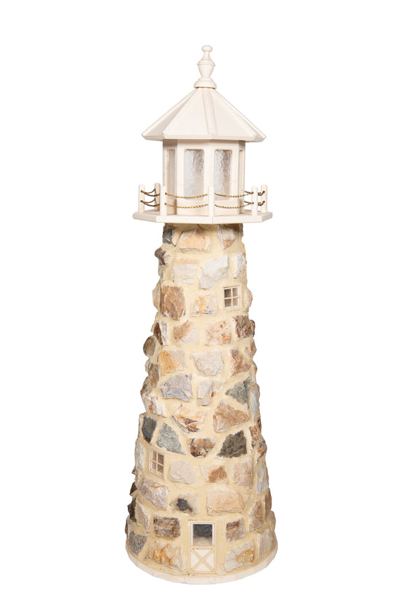 Amish Crafted 5 ft. Stone Lighthouse with Ivory Top