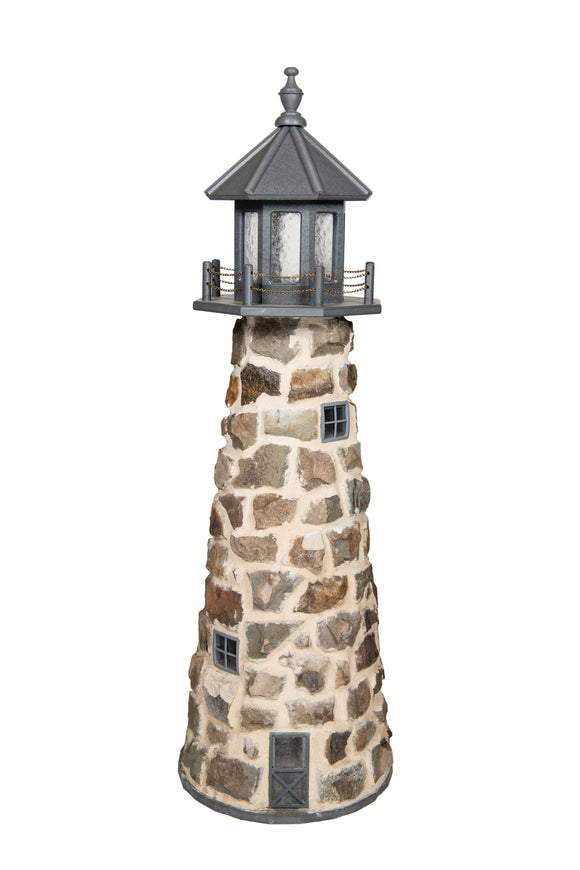 Amish Crafted 5 ft. Stone Lighthouse with Gray Top