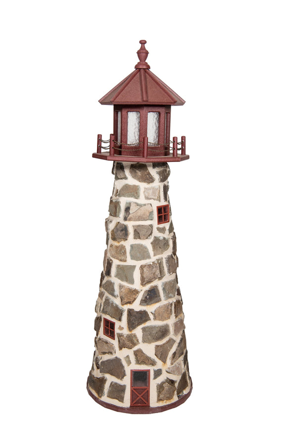 Amish Crafted 5 ft. Stone Lighthouse with Cherrywood Top