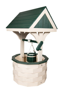 Amish Hand Crafted Medium Wishing Well - Ivory & Green