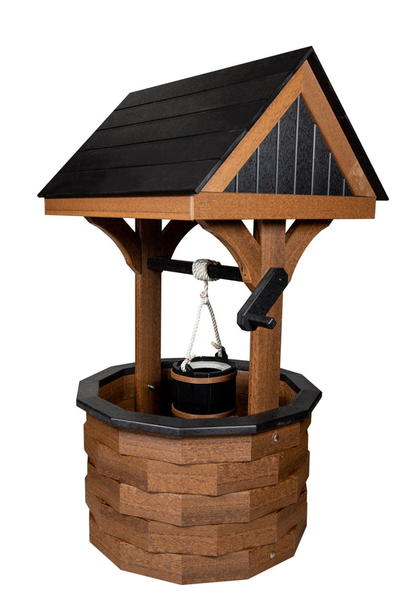 Amish Hand Crafted Medium Wishing Well - Premium Woodgrain Mahogany & Black