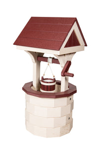 Amish Hand Crafted Small Wishing Well - Ivory & Cherrywood