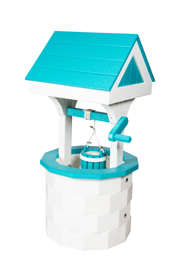 Amish Hand Crafted Small Wishing Well - White and Aruba Blue
