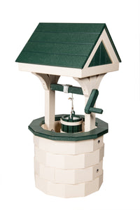 Amish Hand Crafted Small Wishing Well - Ivory & Green