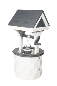 Amish Hand Crafted Small Wishing Well - White & Gray