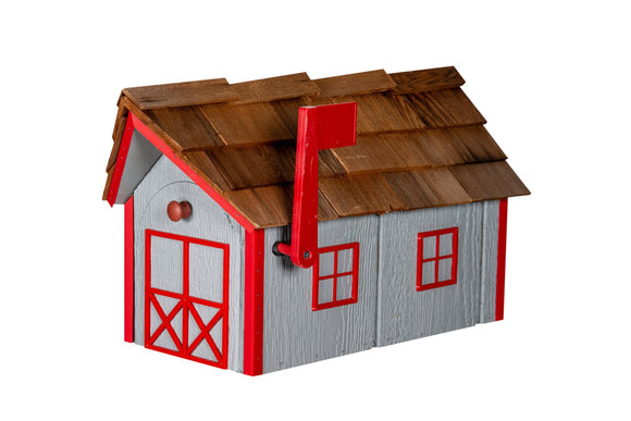 Wooden Mailbox with Cedar Shakes - Gray & Cardinal Red