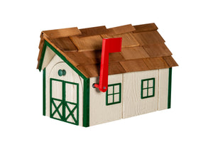Wooden Mailbox with Cedar Shakes - Ivory & Green