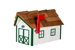 Wooden Mailbox with Cedar Shakes - White & Green