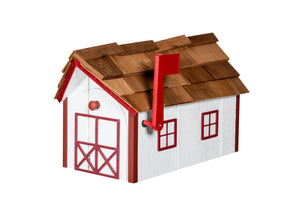 Wooden Mailbox with Cedar Shakes - White & Cardinal Red