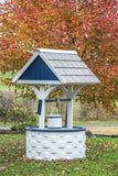 Amish Hand Crafted Large Wishing Well - White and Patriot Blue / Light Gray Vinyl Shakes