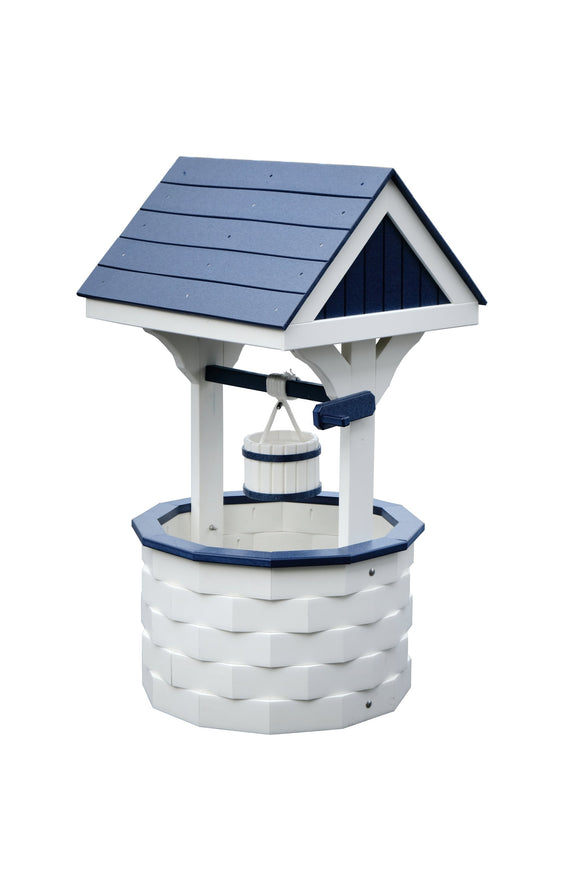 Amish Hand Crafted Medium Wishing Well - White and Black