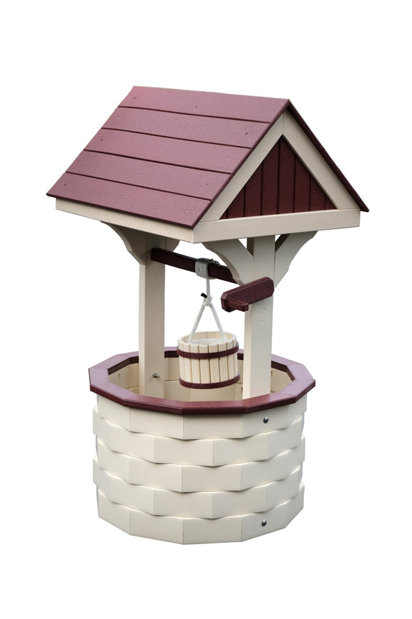 Amish Hand Crafted Medium Wishing Well - Ivory and Cherrywood