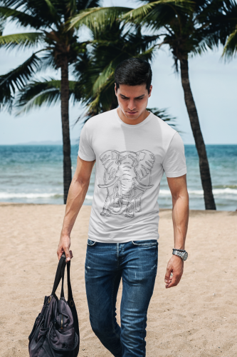 Man walking on beach wearing a white 3 Elephant Drawing T-Shirt Print, designed and hand drawn by a local Melbourne Artist. These shirts can be personalised with your own designs-Click on the link in description to create a custom Tee